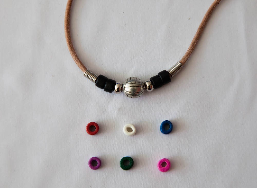 Cowhide Volleyball Necklace