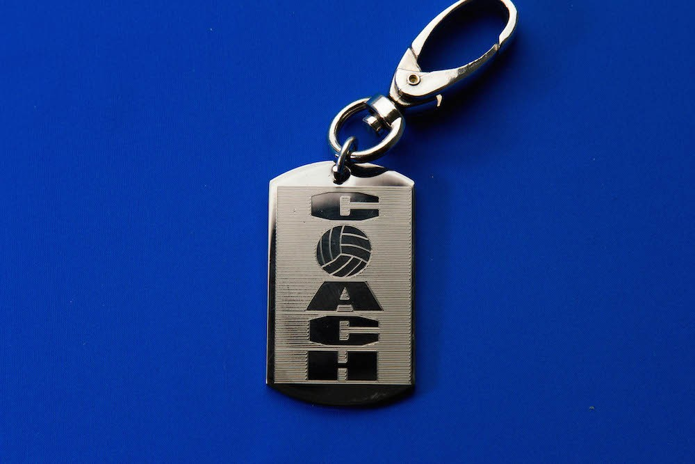 Engraved Coach Volleyball Keychain/Zipperpull