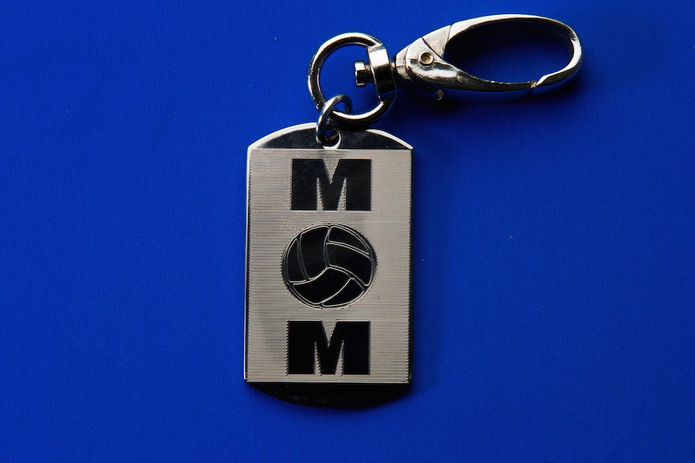 Engraved Mom Volleyball Keychain/Zipperpull