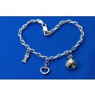 I Love Volleybal Sterling Charm Link Bracelet